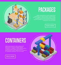 Delivery packing and cargo containers set vector