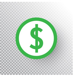 Dollar sign icon on transparent background green vector