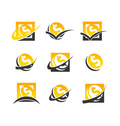 Dollar symbol coin logo icons vector