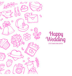 doodle wedding with place for text vector image