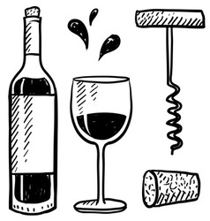 Doodle wine vector