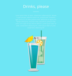 Drink please mojito mint cocktail summer poster vector
