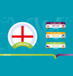 england national team schedule matches in the vector image