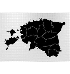 estonia map - high detailed black map with vector image