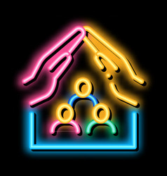 Family health protection insurance neon glow icon vector