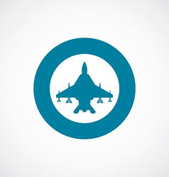 Fighter airplane icon bold blue circle border vector