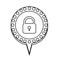 Figure chat bubble with padlock icon vector