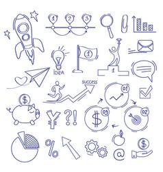 Finance doodle business commerce money investment vector