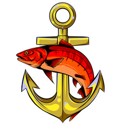 Fish anchor line art quality vector