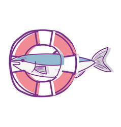 Fish with life buoy object design vector