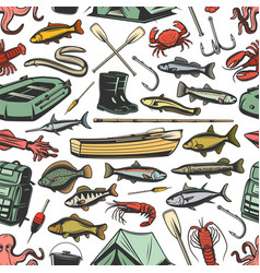 Fishing equipment and fishes seamless pattern vector