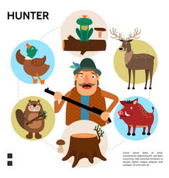 flat hunting round concept vector image