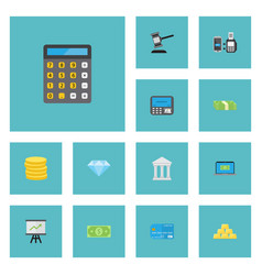 Flat icons bank jewel gem atm and other vector