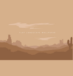 flat landscape mountain desert background vector image