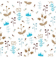floral pattern with autumn flowers vector image