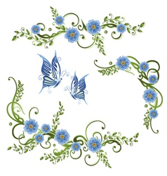 Flowers forget me not vector