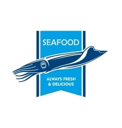 Fresh catch seafood icon with blue squid vector