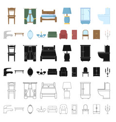 Furniture and interior cartoon icons in set vector