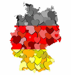 Germany map made of hearts background vector