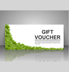 Gift voucher template with green leaves on a white vector