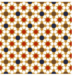Gold red blue moroccan motif tile pattern vector