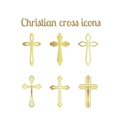 Golden christian cross vector image