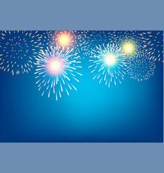 golden firework on blue background vector image