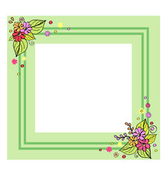 green frame with flowers vector image
