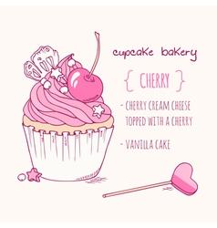 Hand drawn cherry cupcake vector