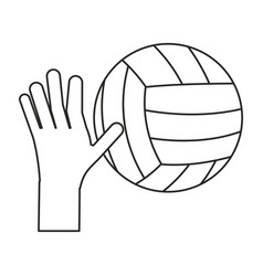 Hand holding volleyball ball sport thin line vector