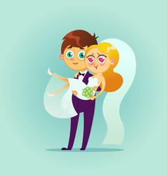 Happy wedding couple vector