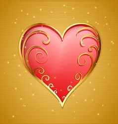 heart with gold frame vector image