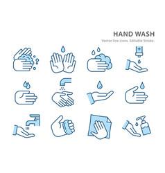 hygiene flat line icon set vector image