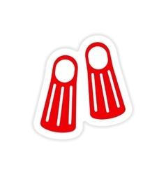 Icon sticker realistic design on paper diver fins vector