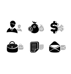 Icons set in black for business and finances vector