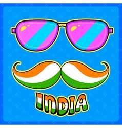 Indian kitsch style mustache and glasses vector