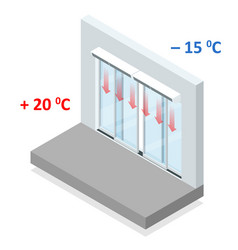 isometric concept air door or air curtain a vector image