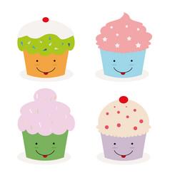 Kawaii cupcakes vector