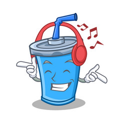 Listening music soda drink character cartoon vector