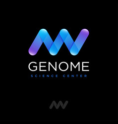 logo genome blue dna spiral glossy elements vector image