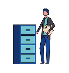 Man with office cabinet organizer vector