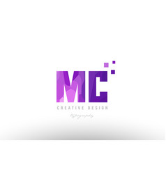 Mc m c pink alphabet letter logo combination with vector