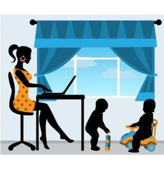 mother and two children in the room vector image