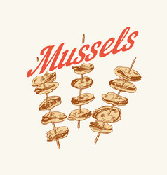 mussels in vintage retro style nautical molluscs vector image