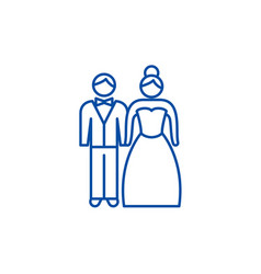 newlyweds line icon concept newlyweds flat vector image