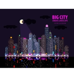 Night in the big city Illuminated signs in the vector