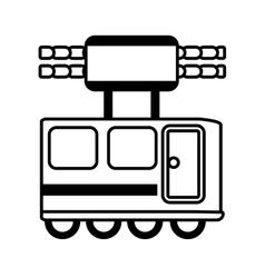 outline railway cabine travel transport vector image