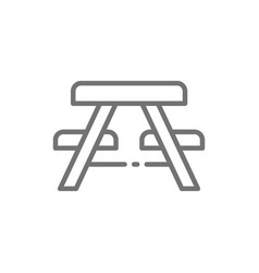 Picnic table with benches line icon vector