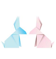 pink origami rabbit vector image