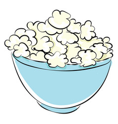 popcorn in bowl on white background vector image